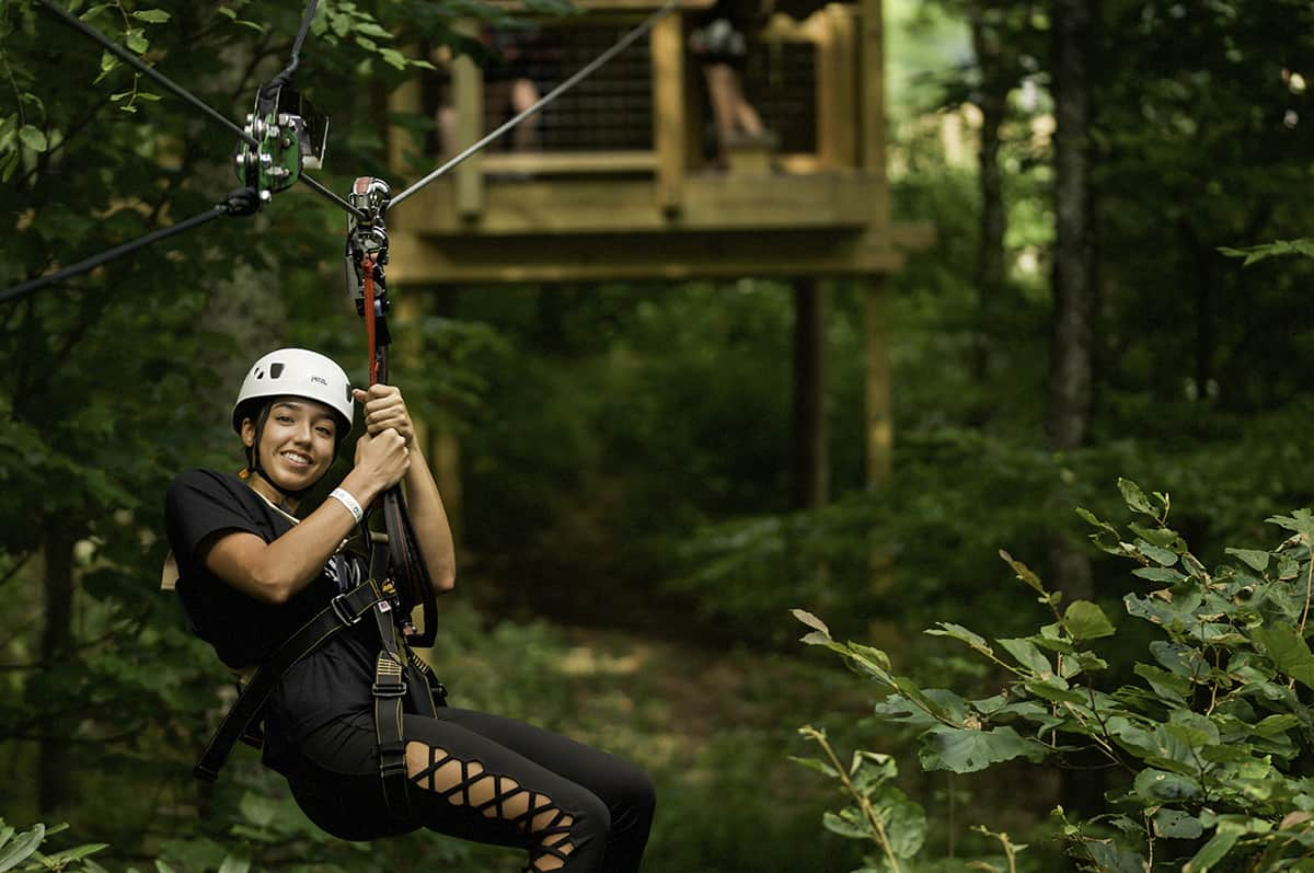 Zip lining in the High Country